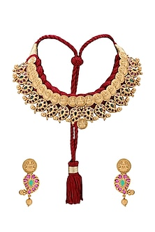 Antique Gold Plated Red Resham Thread Necklace Set by Joules By Radhika