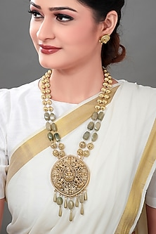 Gold Plated Beaded Pendant Necklace Set by Joules By Radhika