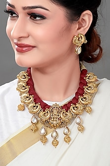 Antique Gold Plated Polki & Thread Necklace Set by Joules By Radhika