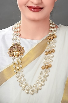 Gold Plated Pearl Temple Pendant Necklace by Joules By Radhika