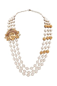 Gold Plated Pearl Temple Pendant Necklace by Joules By Radhika-JEWELLERY ON DISCOUNT
