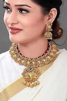 Gold Plated Resham Thread Temple Necklace Set by Joules By Radhika