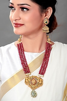 Gold Plated Ruby Pendant Necklace Set by Joules By Radhika