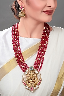 Gold Plated Polki Pendant Necklace Set by Joules By Radhika