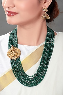Gold Plated Green Temple Pendant Necklace Set by Joules By Radhika