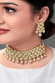 Gold Plated Polki & Pearl Necklace Set by Joules By Radhika