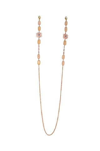 Micro Gold Finish Handcrafted Jade Beaded Mask Chain by Joules By Radhika