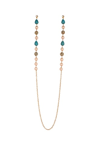 Micro Gold Finish Handcrafted Blue Beaded Mask Chain by Joules By Radhika