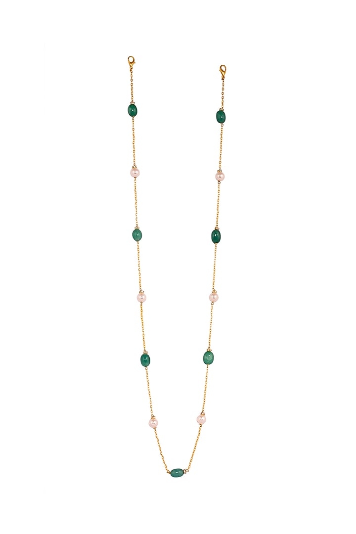 Micro Gold Finish Handcrafted Green Beaded Mask Chain by Urbature