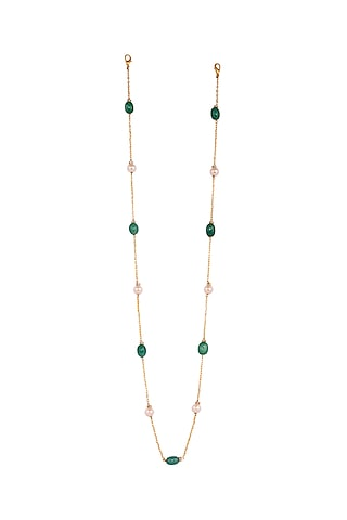 Micro Gold Finish Handcrafted Green Beaded Mask Chain by Joules By Radhika