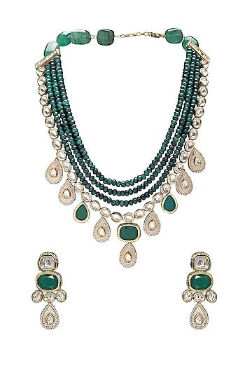 Gold Finish Green Agate Beads Necklace Set by Joules By Radhika