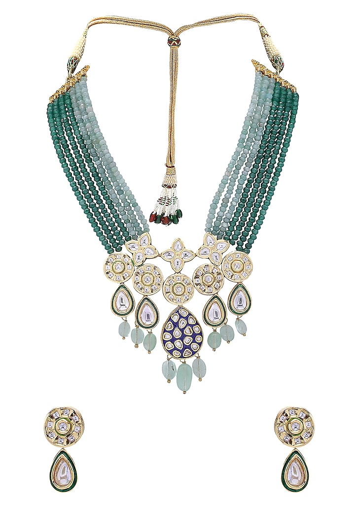 Gold Finish Blue Meenakari Necklace Set by Joules By Radhika