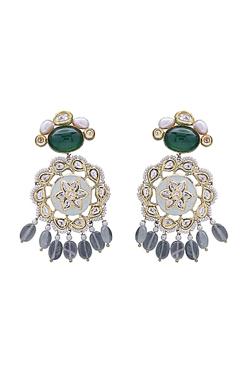 Gold Finish Enameled Earrings by Joules By Radhika