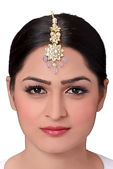 Gold Finish Pearls Maang Tikka by Joules By Radhika