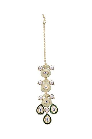 Gold Finish Pearls & Polki Maang Tikka by Joules By Radhika