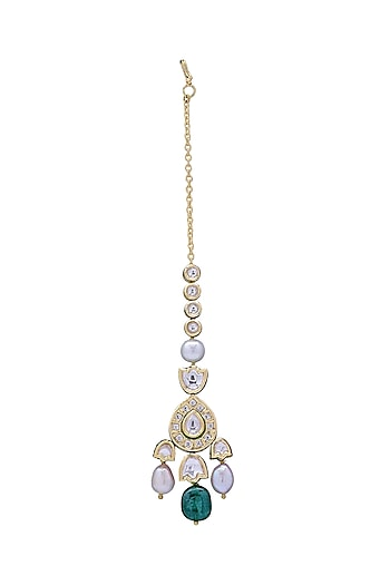 Gold Finish Baroque Pearls Maang Tikka by Joules By Radhika