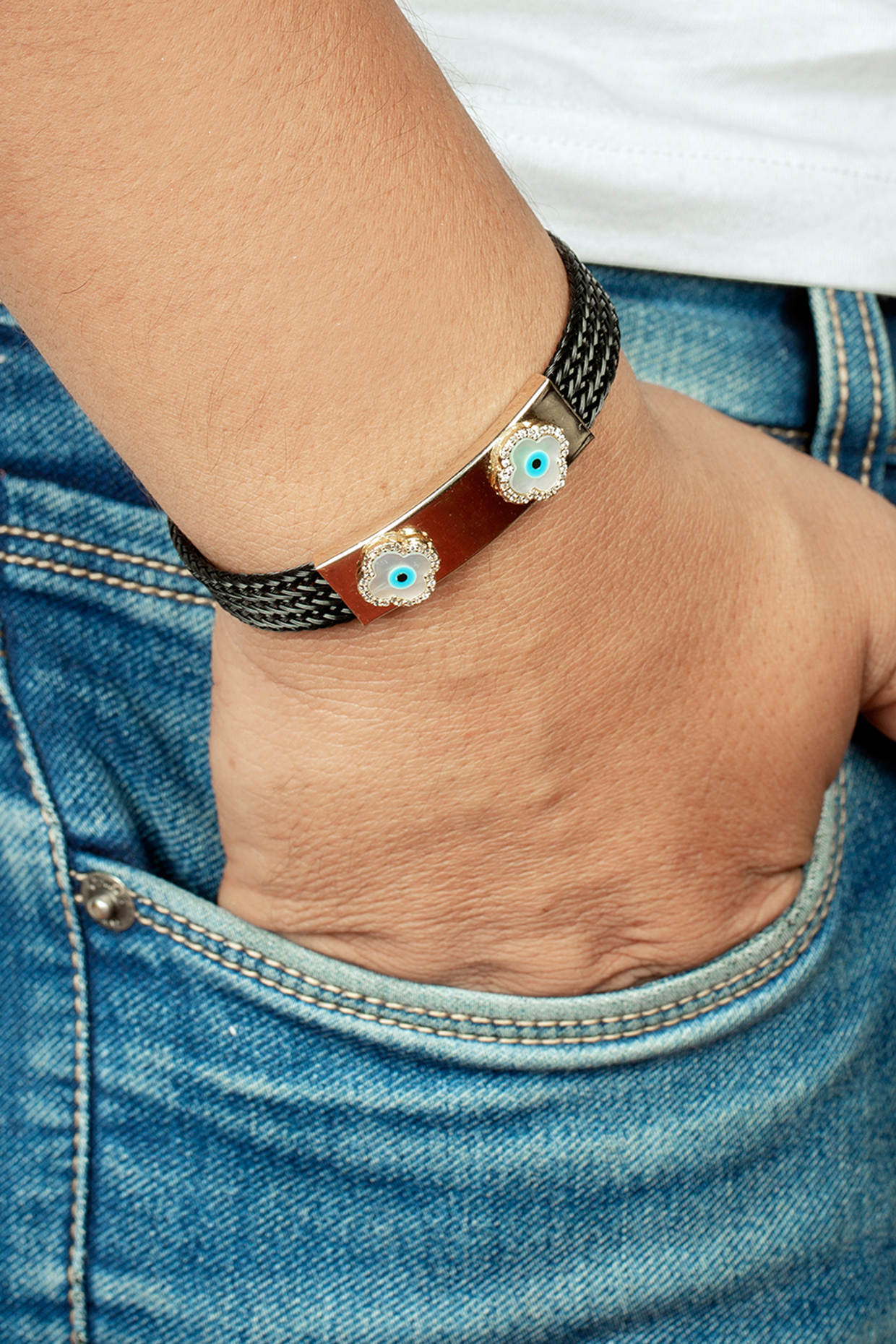 Black Evil Eye Bracelet by Joules By Radhika
