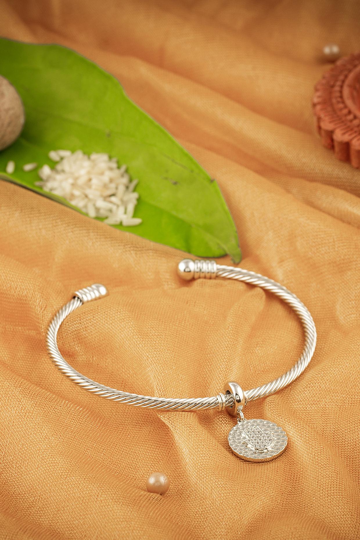 Silver Finish Hamsa Pendant Rakhi by Joules By Radhika