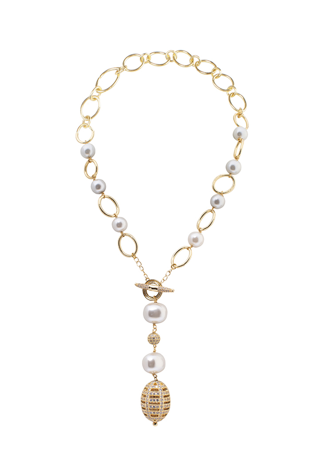 Gold Finish Shell Pearl & Cubic Zirconia Necklace by Joules By Radhika