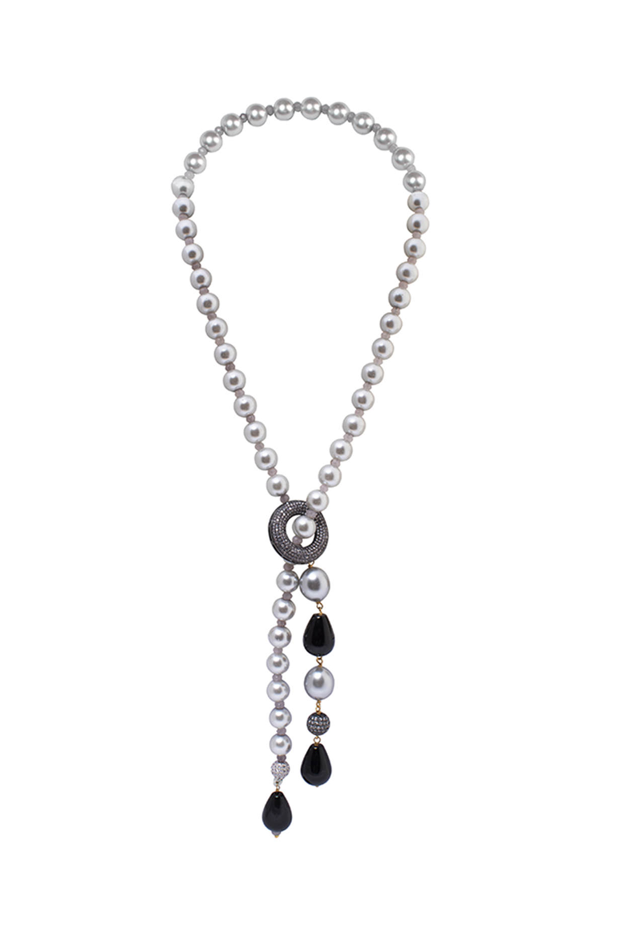Gold Finish Black Onyx & Pearl Necklace by Joules By Radhika