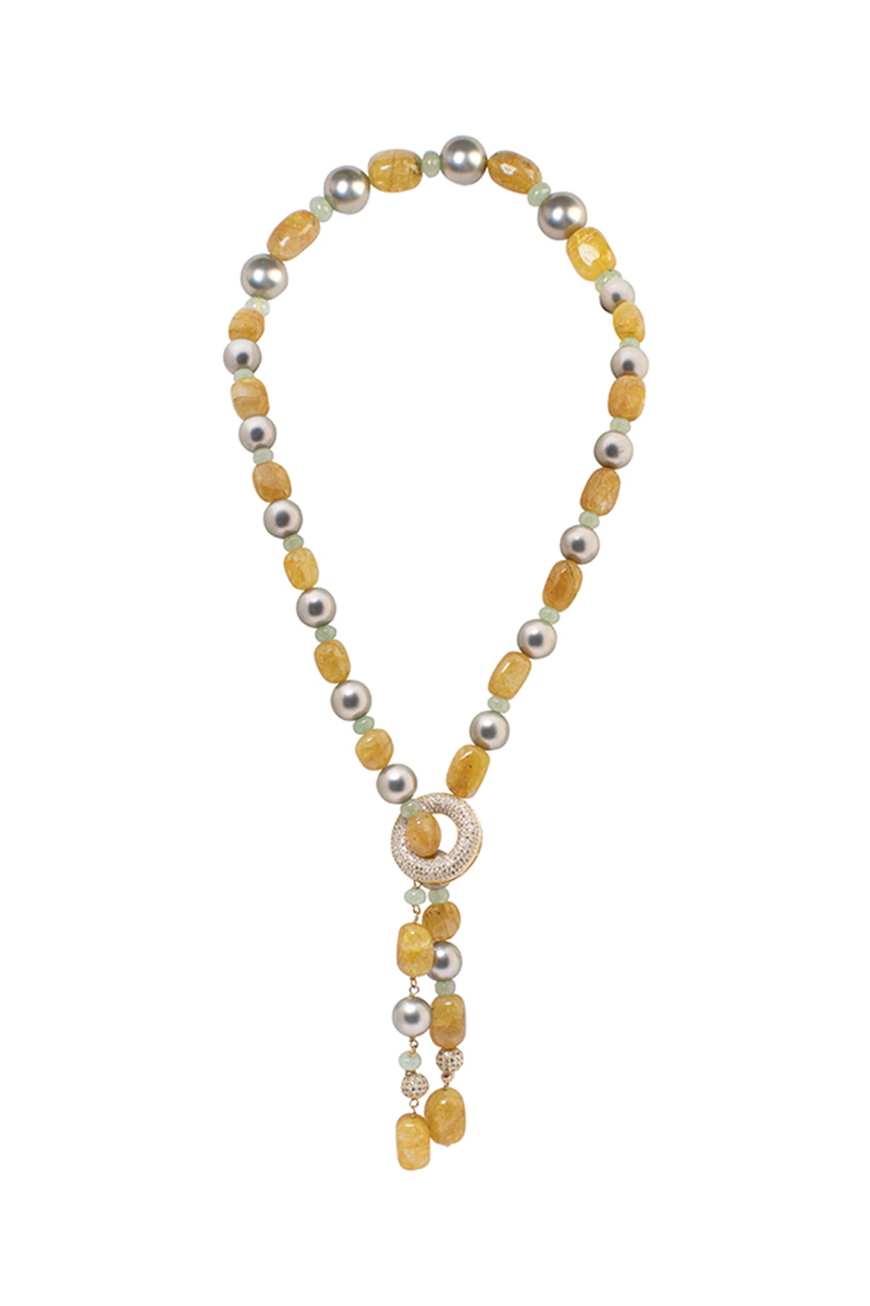 Gold Finish Quartz Beaded Necklace by Joules By Radhika