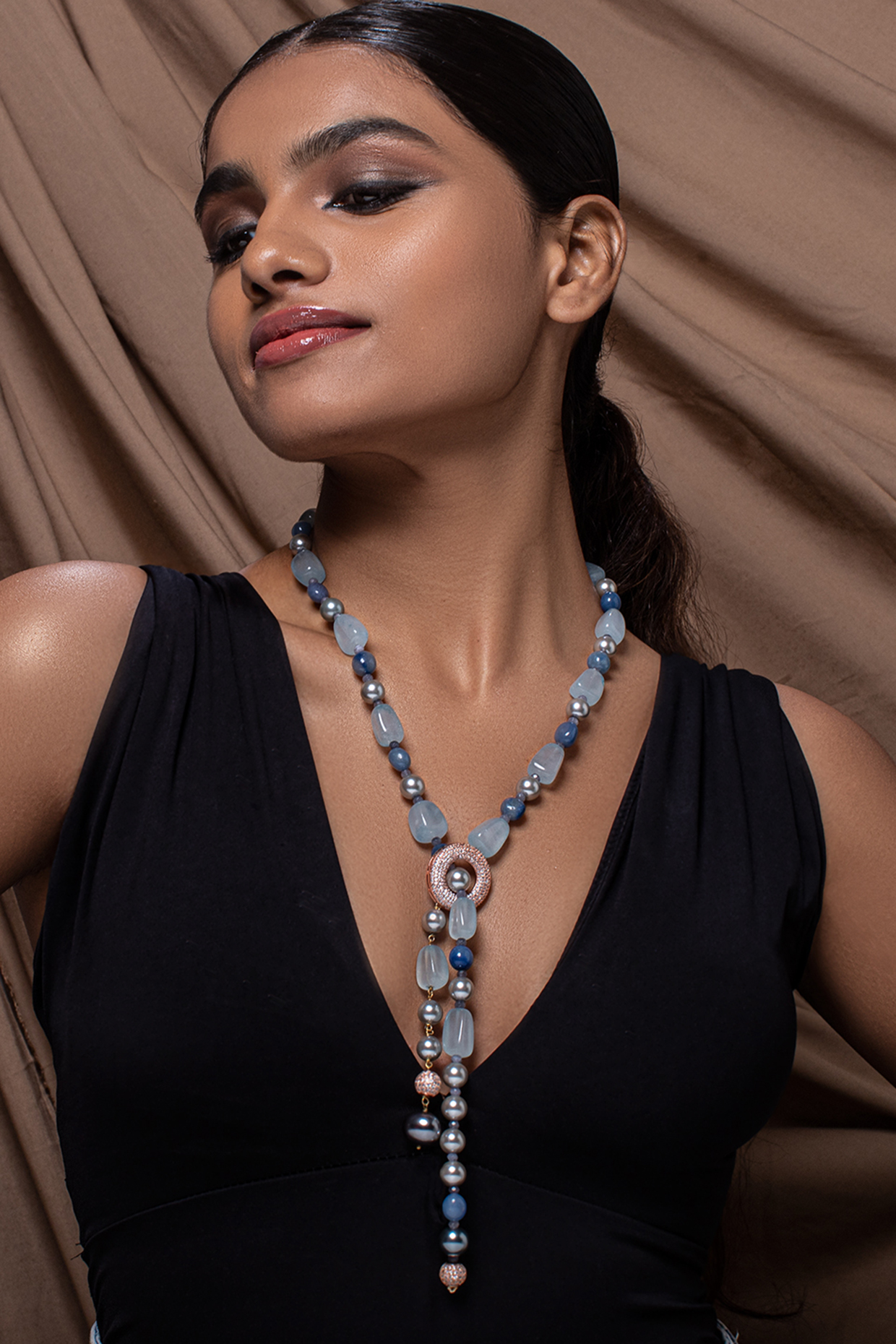 Gold Finish Cubic Zirconia & Pearl Necklace by Joules By Radhika