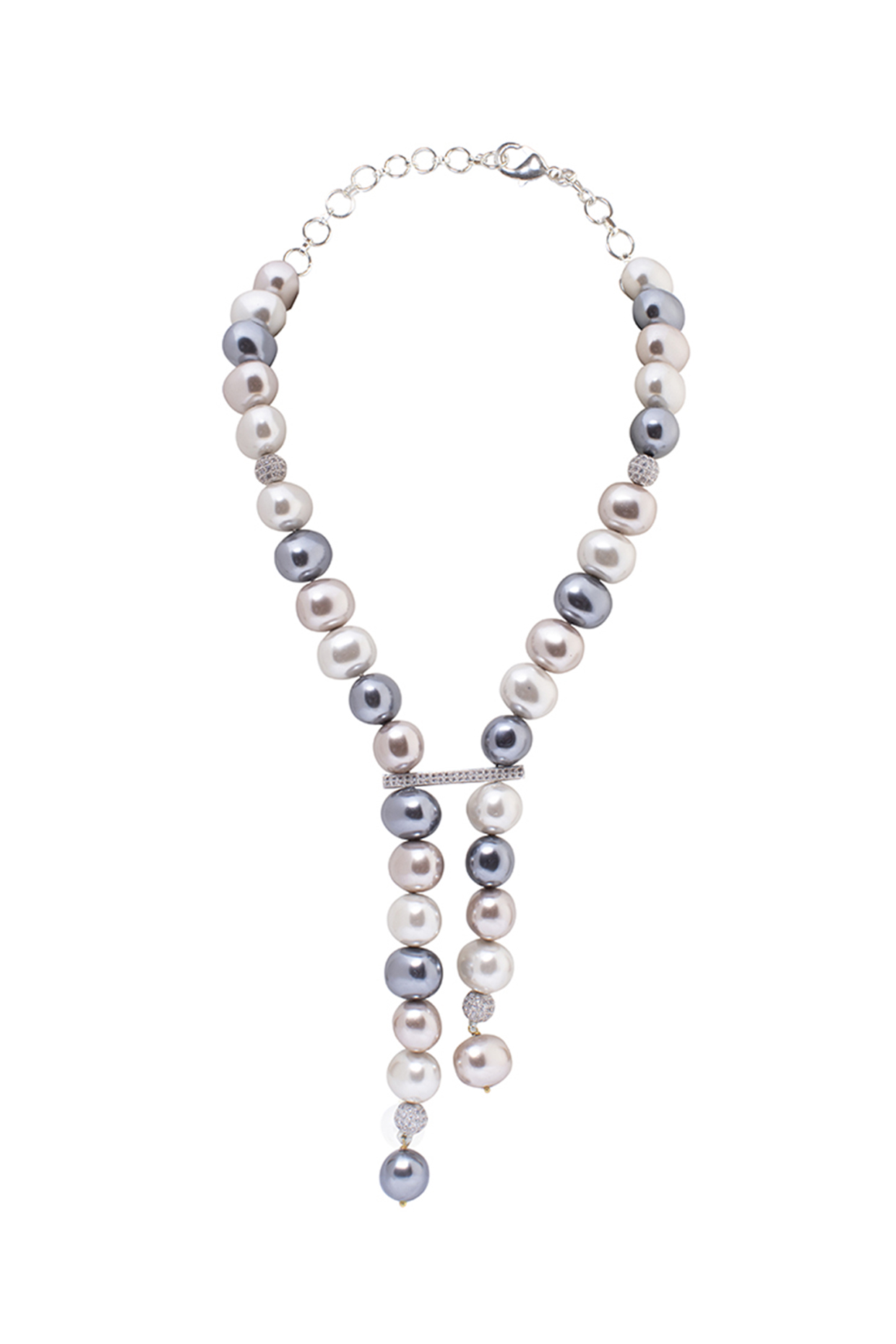 Gold Finish Pearl & Cubic Zirconia Necklace by Joules By Radhika