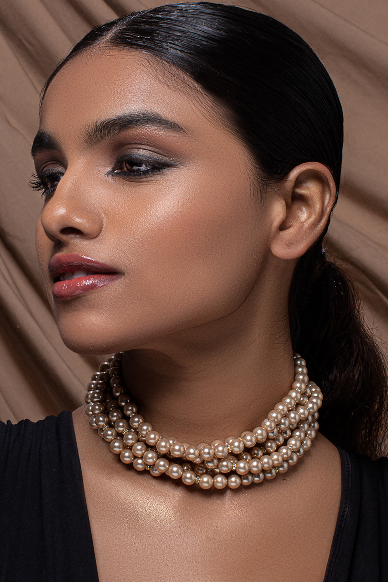 Gold Finish Pearl & Crystal Necklace by Joules By Radhika