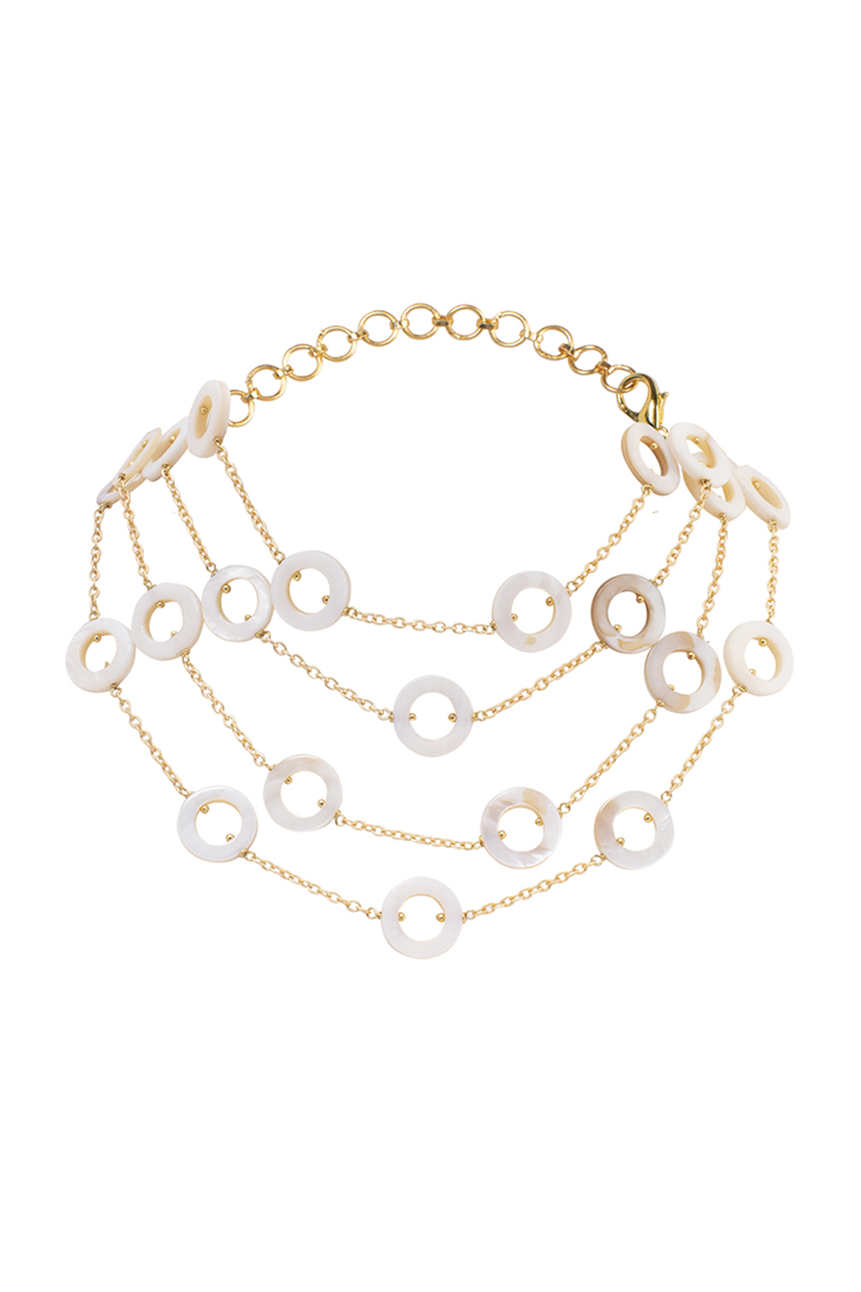 Gold Finish Pearl Necklace by Joules By Radhika