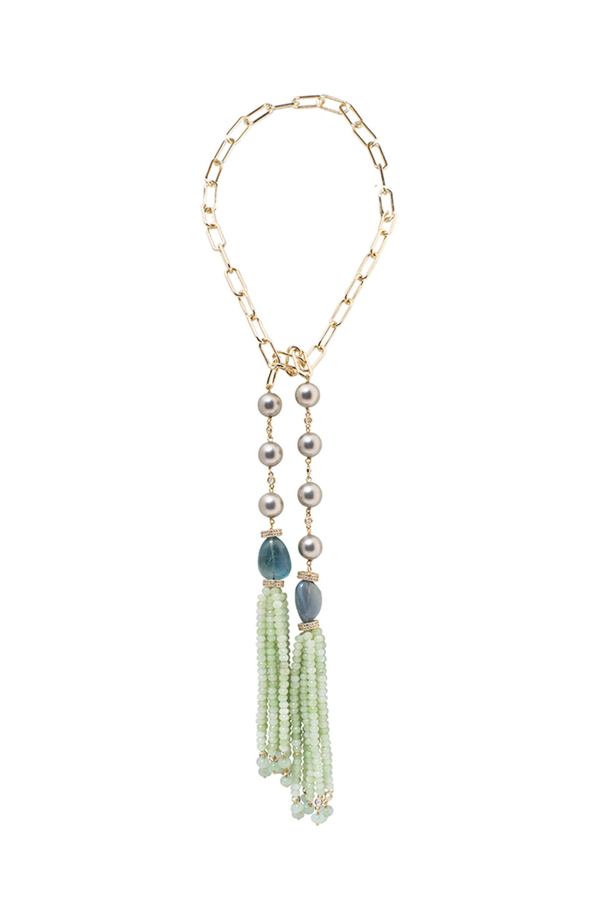 Gold Finish Agate Beaded Necklace by Joules By Radhika