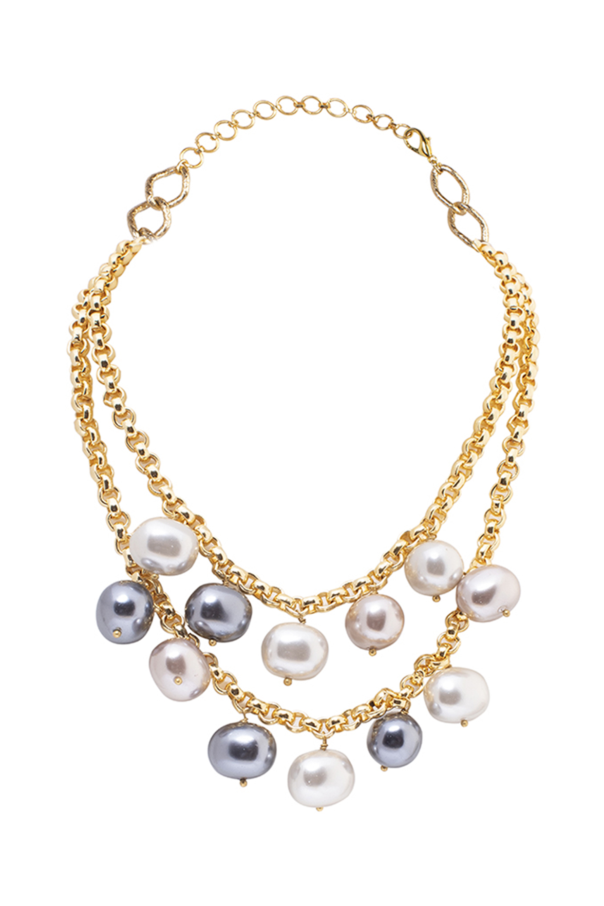 Gold Finish Necklace With Pearl by Joules By Radhika