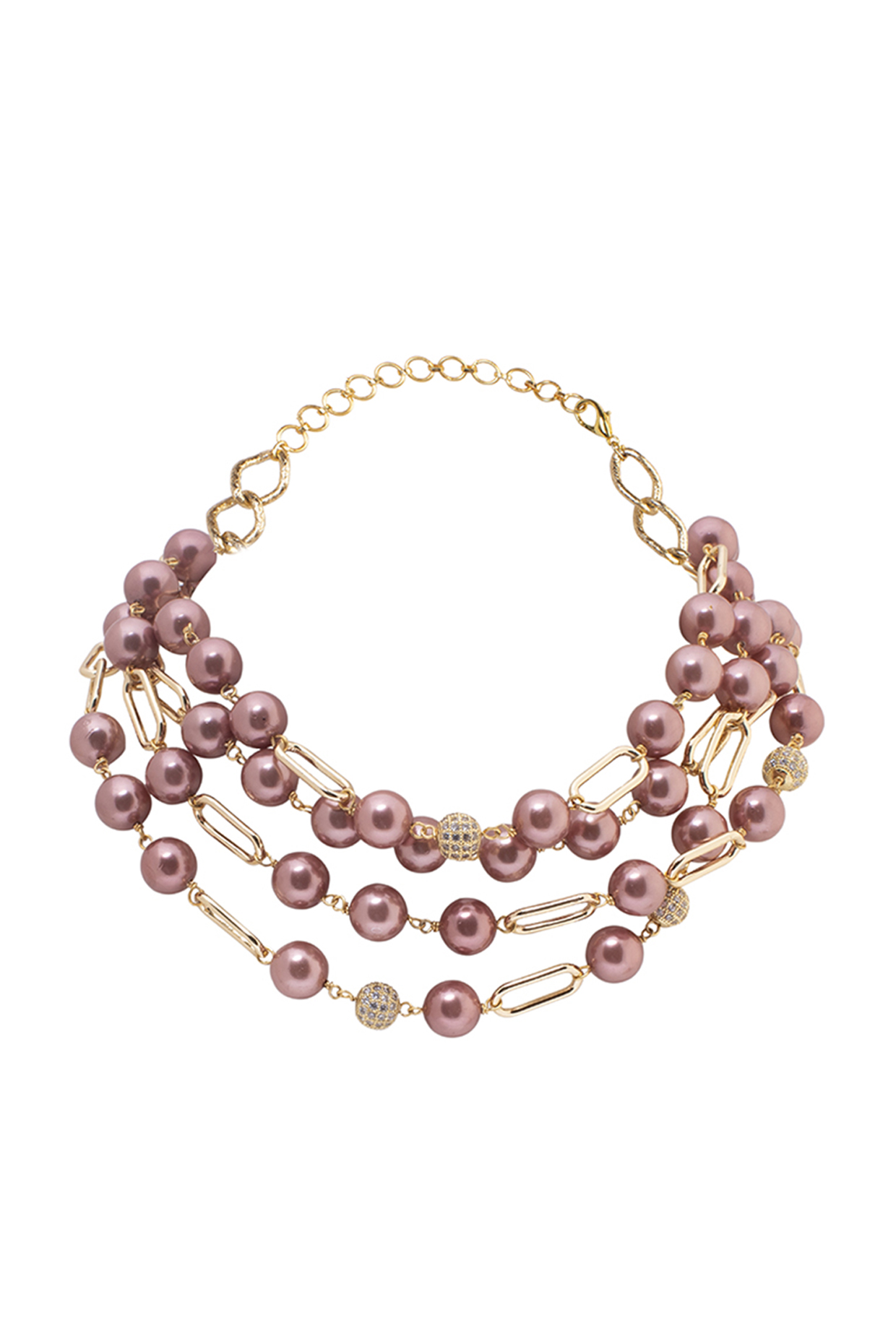 Gold Finish Cubic Zirconia Beads & Pearl Necklace by Joules By Radhika