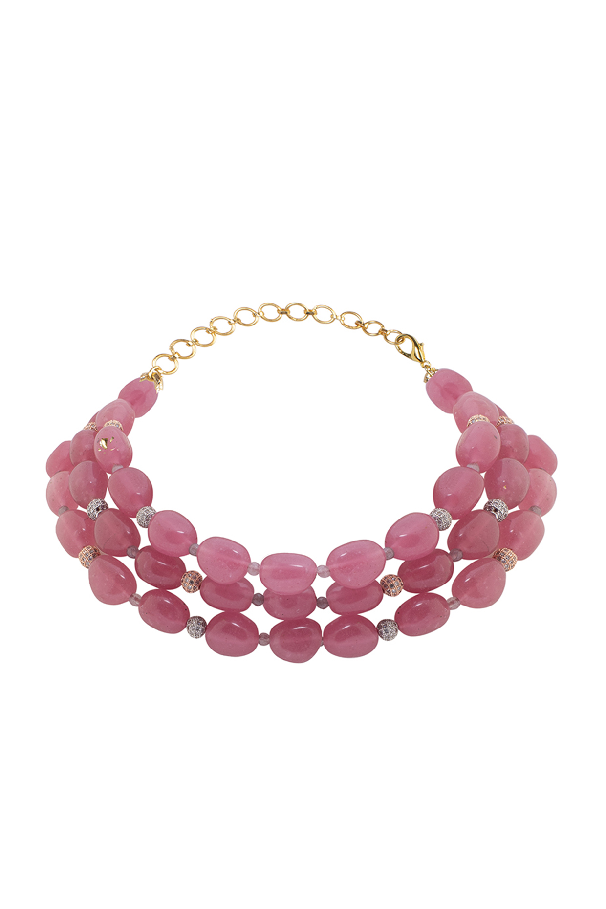 Gold Finish Pink Quartz Beaded Necklace by Joules By Radhika