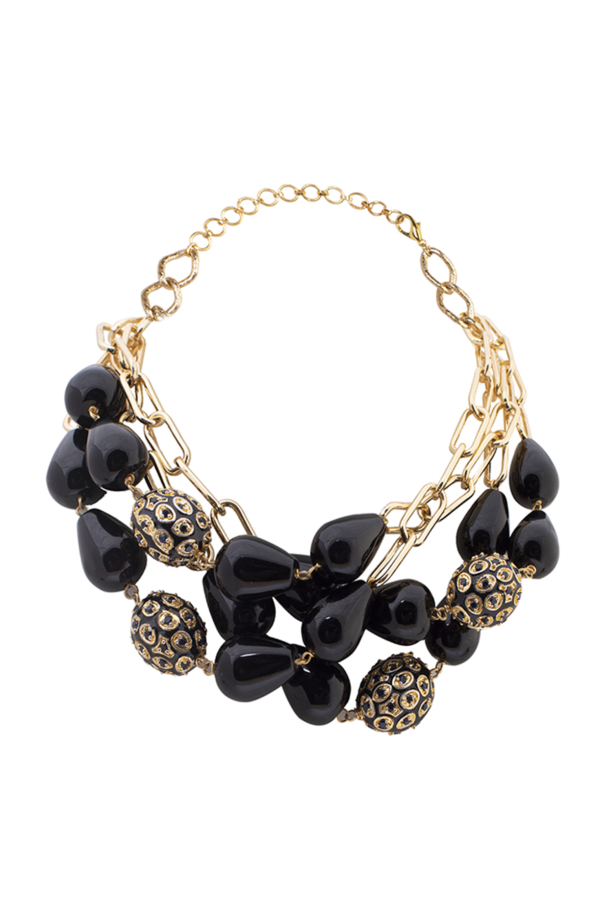 Gold Finish Black Onyx Drop & Pearl Necklace by Joules By Radhika