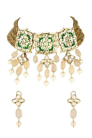 Gold Finish Kundan Necklace Set by Joules By Radhika