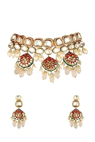 Gold Finish Kundan Choker Necklace Set by Joules By Radhika