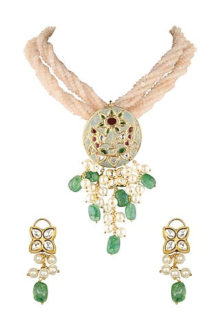 Gold Finish Jade Enamelled Necklace Set by Joules By Radhika