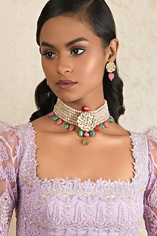 Gold Finish Kundan & Jade Necklace Set by Joules By Radhika