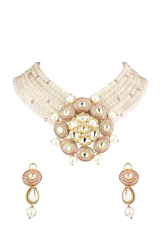 Gold Finish Beaded Choker Necklace Set by Joules By Radhika