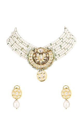 Gold Finish Shell Pearl & Kundan Necklace Set by Joules By Radhika