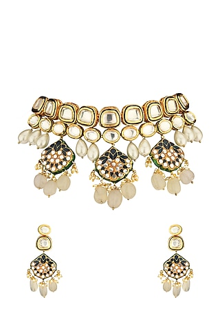 Gold Finish Shell Pearl & Beaded Necklace Set by Joules By Radhika