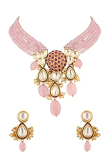 Gold Finish Ruby Choker Necklace Set by Joules By Radhika