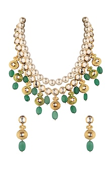 Gold Finish Enamelled Jade Necklace Set by Joules By Radhika