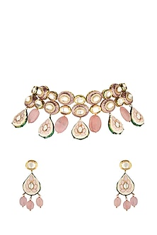 Gold Finish Rose Quartz Drop Necklace Set by Joules By Radhika