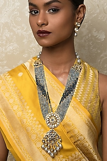 Gold Finish Agate Choker Necklace Set by Joules By Radhika