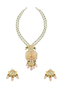 Gold Finish Jade & Shell Pearl Choker Necklace Set by Joules By Radhika