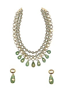 Gold Finish Jade & Shell Pearl Necklace Set by Joules By Radhika