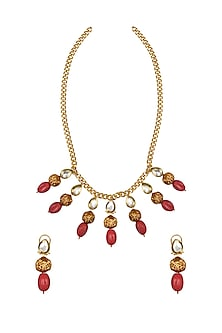 Gold Finish Coral Beaded Necklace Set by Joules By Radhika