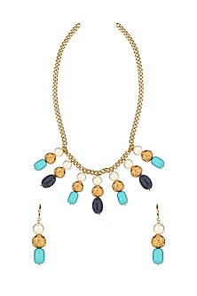 Gold Finish Turquoise Beaded Necklace Set by Joules By Radhika