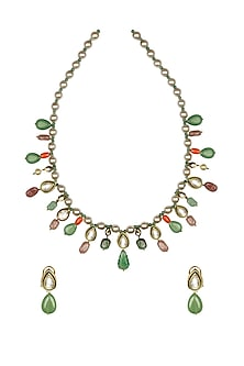 Gold Finish Agate & Coral Choker Necklace Set by Joules By Radhika